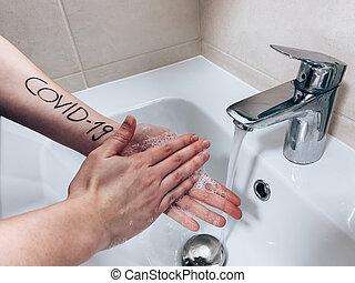 woman?s, inscriptie, handen, was, covid-19