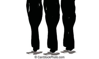 women-models, kleuren, drie, silhouettes, zwarte achtergrond, gaan, witte