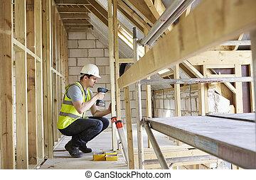 woning, arbeider, bouwsector, bouwen, boor, gebruik