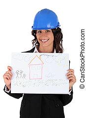 woning, architect, tekening, vasthouden, kind