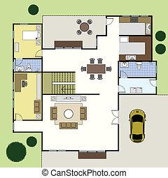 woning, architectuur, floorplan, plan