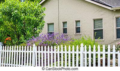 woning, francisco, piket, berg, baai, san, oud, gebied, bloeiend, aanzicht, californië, tuin, omheining