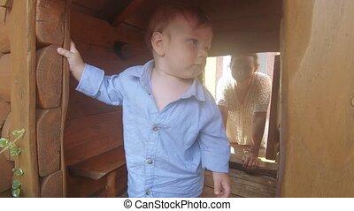 woning, houten, jongen, baby