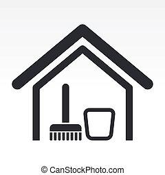 woning, illustratie, vrijstaand, enkel, pictogram, vector, schoonmaken
