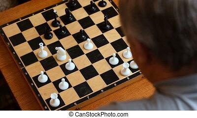 woning, kind gespeel, schaakspel, grootouders