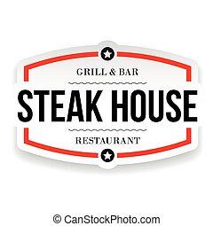 woning, restaurant, meldingsbord, biefstuk, ouderwetse
