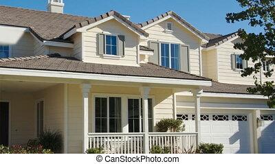 woning, sold, verkoop teken, panning, thuis