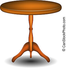 wooden table, ronde