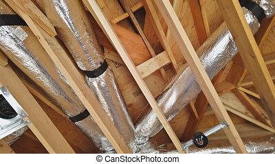 woongebied, bouwsector, balken, gebouw, ingelijst, huisinterieur, plafond, houten