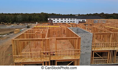 woongebied, bouwsector, interieur, thuis, het ontwerpen, woning, houten