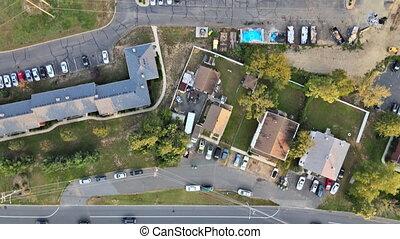 woongebied, kleine, daken, landscape, straat, luchtopnames, buurt, stad, aanzicht