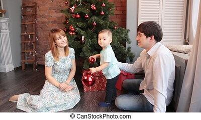 woonkamer, familie beeltenis, thuis, vakantie, kerstmis