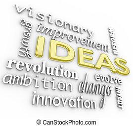 woord, achtergrond, -, ideeën, woorden, innovatie, visie, 3d