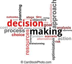 woord, beslissing, -, wolk, vervaardiging