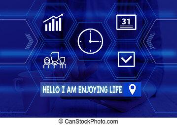 woord, kostuum, levensstijl, formeel, eenvoudig, tekst, het voorstellen, schrijvende , ontspannen, spullen, life., hallo, genieten, presentatie, slijtage, device., gebruik, het genieten van, vrouw zaak, vrolijke , concept, smart, werken