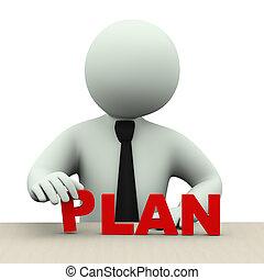 woord, plan, 3d, man, zakelijk