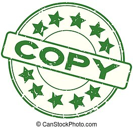 woord, postzegel, rubber, groene achtergrond, zeehondje, grunge, witte , kopie, ster, ronde, pictogram