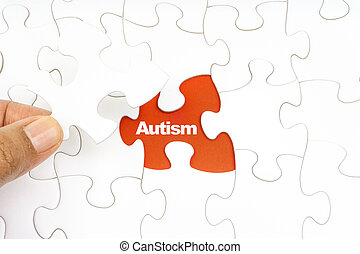 woord, raadsel, jigsaw, hand houdend, autism., stuk