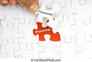 woord, raadsel, jigsaw, hand, planning, vasthouden, financieel, stuk