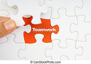 woord, raadsel, jigsaw, hand, teamwork, vasthouden, stuk