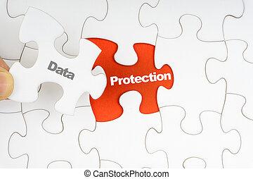 woord, raadsel, jigsaw, overhandiig bescherming, vasthouden, stuk, data