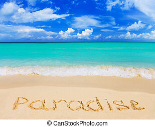 woord, strand, paradijs