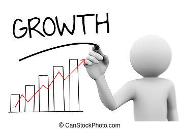 woord, tabel, schrijvende , persoon, groei, voortgang bar, 3d