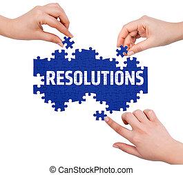woord, vervaardiging, raadsel, vrijstaand, witte , handen, resolutions