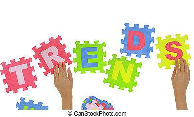 """woord, vormen, raadsel, jigsaw, """"trends"""", vrijstaand, stukken, handen"""