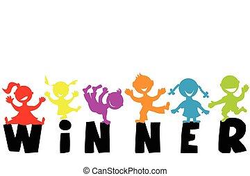 woord, winnaar, illustratie, silhouettes, kinderen, vrolijke