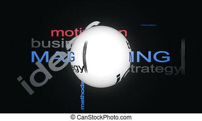 woord, zakelijk, marketing, strategie, bol, animatie, tekst, wolk