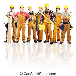 workers., industriebedrijven, groep, professioneel
