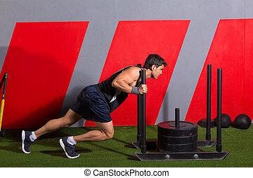 workout, voortvarend, sled, gewichten, duw, oefening, man