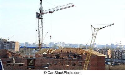 wrakkigheid, bouwsector, house., baksteen, tijd
