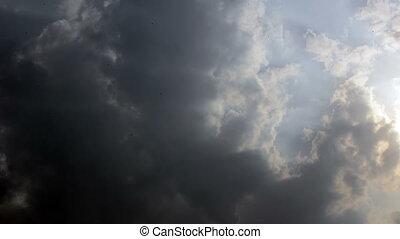 wrakkigheid, hemel, bewolkt, tijd
