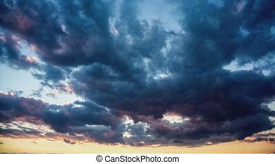 wrakkigheid, wolken, klem, op, hemel, tijd, witte , pluizig