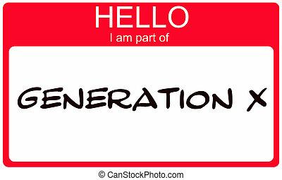 x, deel, naam, hallo, rood, sticker, generatie, label