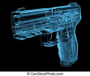xray, blauwe , pistool, (3d, transparent)