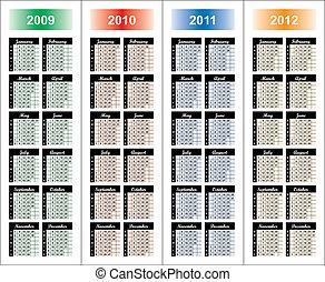 years., kalender, 2009-2012