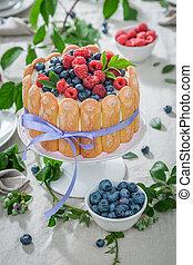 yoghurt, tuin, closeup, taart, fris, besjes