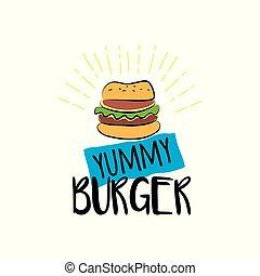 yummy, hamburger, achtergrond, vrijstaand, witte