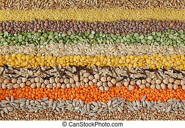 zaden, gevarieerd, graankorrel