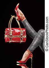 zak, rode schoenen