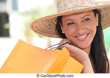 zak, vrouw winkelen, vasthouden