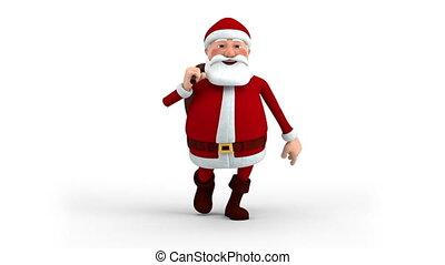 zak, wandelende, claus, kerstman, cadeau
