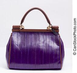 zak, witte achtergrond, viooltje