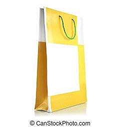 zak, witte , papier, shoppen , achtergrond