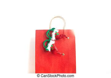 zak, witte , shoppen , kerstmis, achtergrond