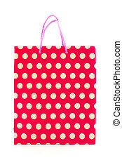 zak, witte , shoppen , rode achtergrond
