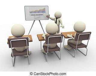 zakelijk, 3d, presentatie